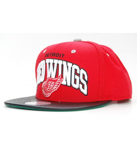 MITCHELL & NESS Snapback Red Wings Rouge-Noir Leather Arch