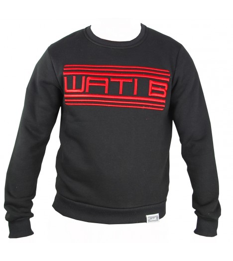 Sweat WATI B Classic Noir-Rouge Crewneck by Sexion d'Assaut