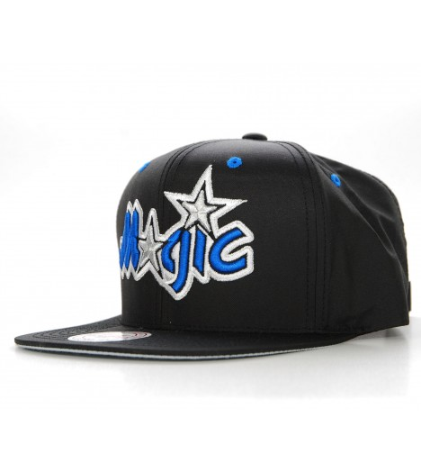 MITCHELL & NESS Snapback Orlando MAGIC Effet Satin Noir Velcro