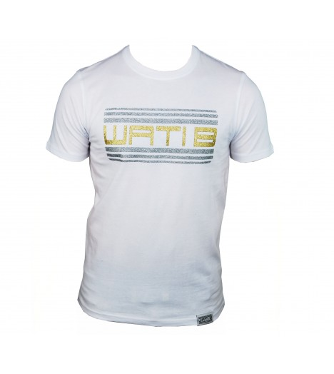 T-shirt WATI B Blanc / Or Logo Paillette by Sexion d'Assaut