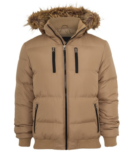 Veste Expedition URBAN CLASSICS Beige à capuche fourrure
