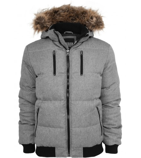 Veste Expedition URBAN CLASSICS Gris à capuche fourrure
