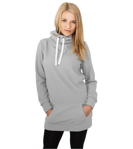 Sweat Long Polaire URBAN CLASSICS Gris à capuche