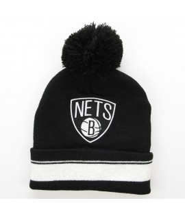 MITCHELL & NESS Bonnet Pompon BROOKLYN NETS Noir-Blanc