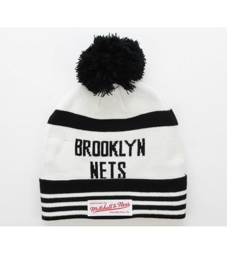MITCHELL & NESS Bonnet Pompon BROOKLYN NETS Blanc-Noir