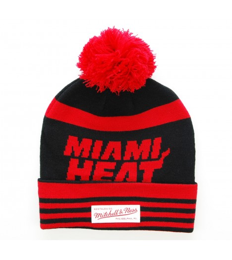 MITCHELL & NESS Bonnet Pompon Miami HEAT Noir-Rouge