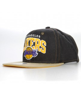 MITCHELL & NESS Strapback LAKERS Denim / Beige visière en daim