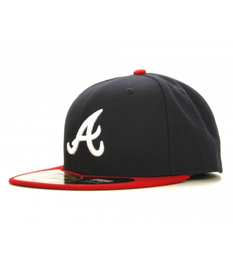 NEW ERA 59Fifty Atlanta BRAVES Bleu marine - Rouge Casquette On-Field Official Baseball