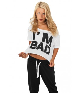 T-shirt ample et court URBAN DANCE Blanc-Noir I m Bad