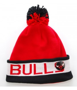 MITCHELL & NESS Bonnet Pompon CHICAGO BULLS Rouge - Noir Block Cuff NBA avec Pin's