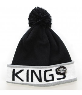 MITCHELL & NESS Bonnet Pompon LOS ANGELES KINGS Noir - Gris Block Cuff NHL avec Pin's