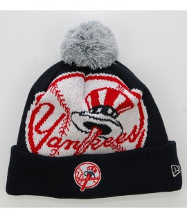 NEW ERA Bonnet Pompon NEW YORK YANKEES Bleu marine Biggie MLB