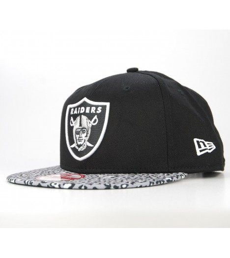 NEW ERA Snapback OAKLAND RAIDERS Noir Animal Print Leopard Casquette 9Fifty