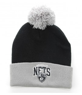 MITCHELL & NESS Bonnet Pompon BROOKLYN NETS Noir - Gris Tarck NBA
