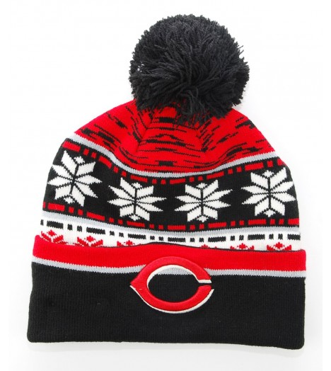 NEW ERA Bonnet Pompon CINCINNATI REDS Noir - Rouge Pomblizz MLB