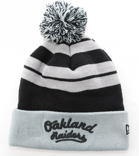 NEW ERA Bonnet Pompon OAKLAND RAIDERS Gris - Noir Retro Script NFL