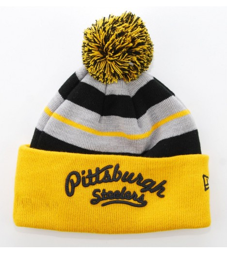 NEW ERA Bonnet Pompon PITTSBURGH STEELERS Gris - Jaune Retro Script NFL