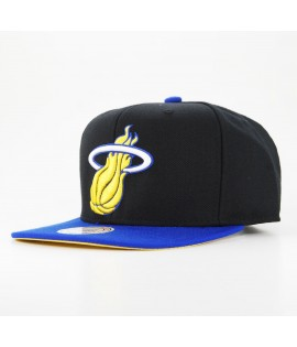 MITCHELL & NESS Snapback MIAMI HEAT Noir - Bleu NBA Laney NX37Z