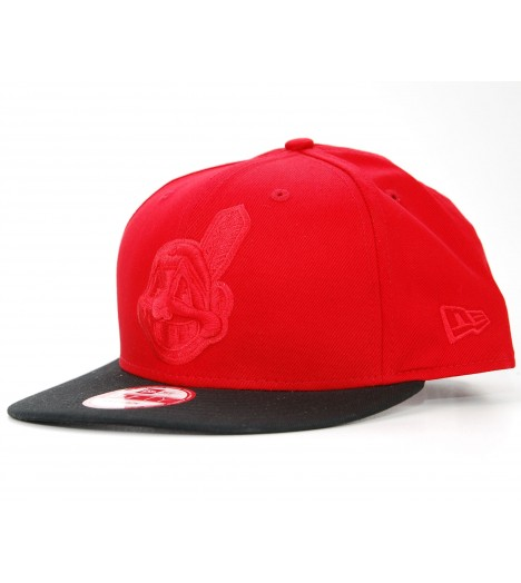 NEW ERA Snapback Cleveland INDIANS Rouge - Noir Pop Tonal Casquette 9Fifty