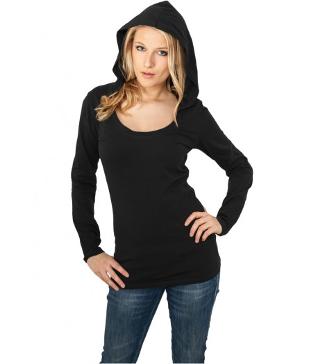 Jersey à capuche Long URBAN CLASSICS Ladies Noir