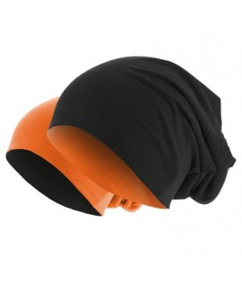 Bonnet Reversible Jersey Noir - Orange Fluo MASTERDIS Beanie Stretch