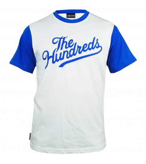 T-shirt THE HUNDREDS Football 80 Conrad Blanc - Bleu