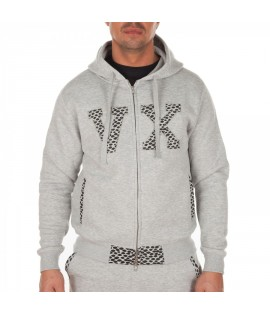Sweat capuche VORTEX VX Mesh Zip Gris by Maître Gims