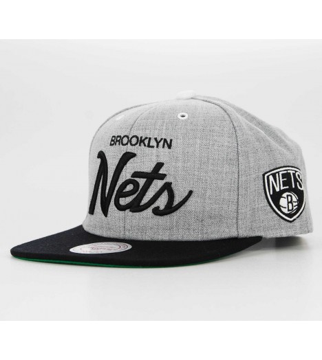Casquette Mitchell & Ness Snapback Brooklyn Nets Script Gris