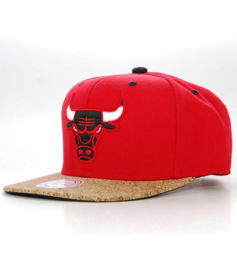 Casquette Mitchell & Ness Snapback Chicago Bulls Cork Rouge