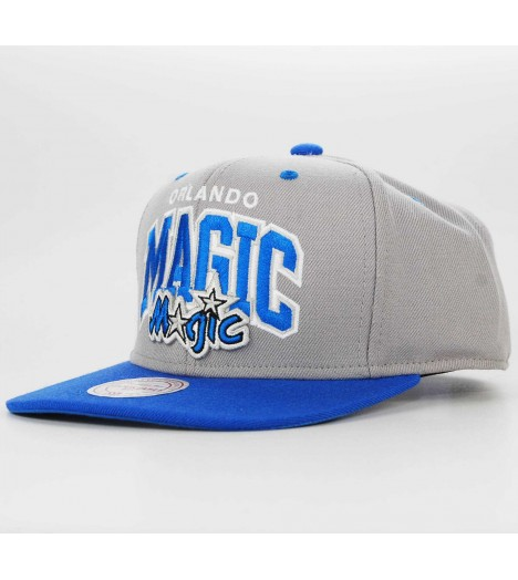 Casquette Mitchell & Ness Snapback Orlando Magic Double Up Gris/Bleu