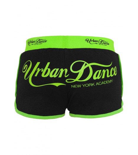 Mini-short Urban Dance NY Academy Noir - Néon Vert Hot Pant