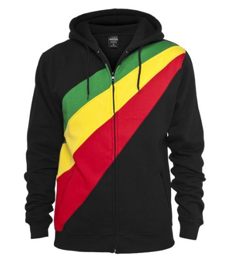 "Sweat zippé URBAN ""Diagonal"" Noir / Rasta"