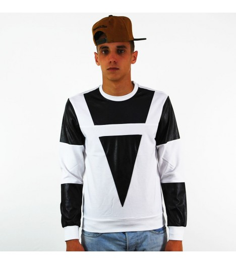 Sweat Capuche Project X Blanc Noir Aspect Cuir Snake