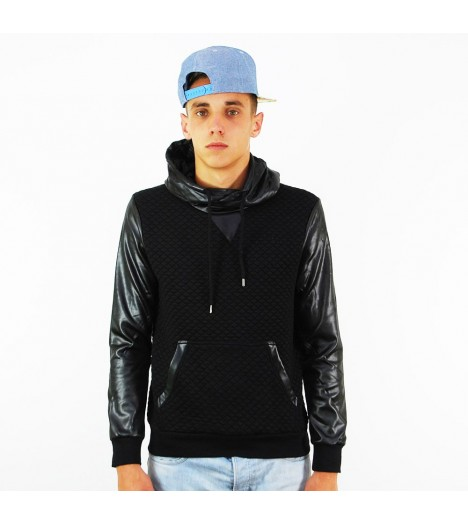 Sweat Capuche Project X Noir Diamond Manches Simili Cuir