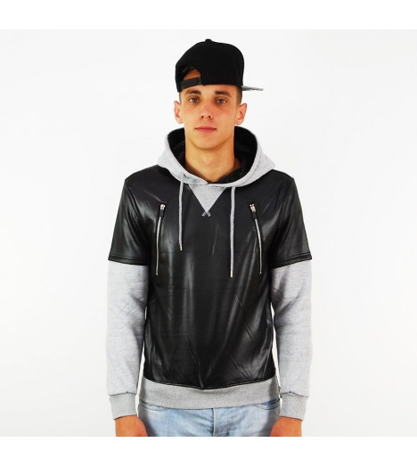 Sweat Capuche Project X Noir - Gris Bi-Matiere Aspect Cuir