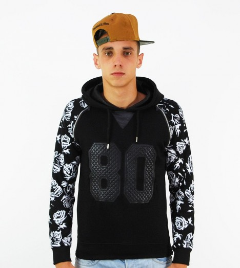Sweat Capuche Project X Flowers Roses 80 Noir Zip