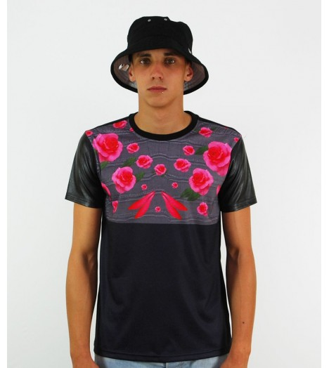 T-shirt Project X Roses Manches Simili Cuir Noir