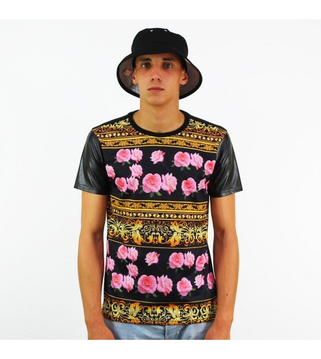 T-shirt Project X Gold Flowers Noir Manches Aspect Cuir