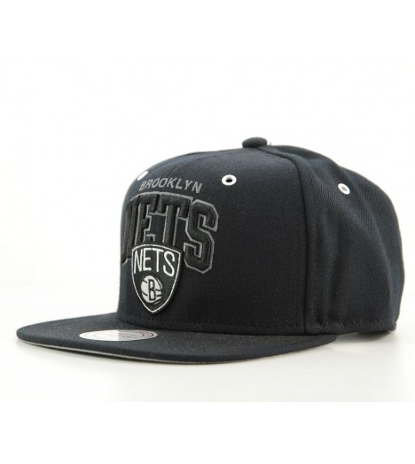 Casquette Mitchell & Ness Snapback Brooklyn Nets Noir All Black