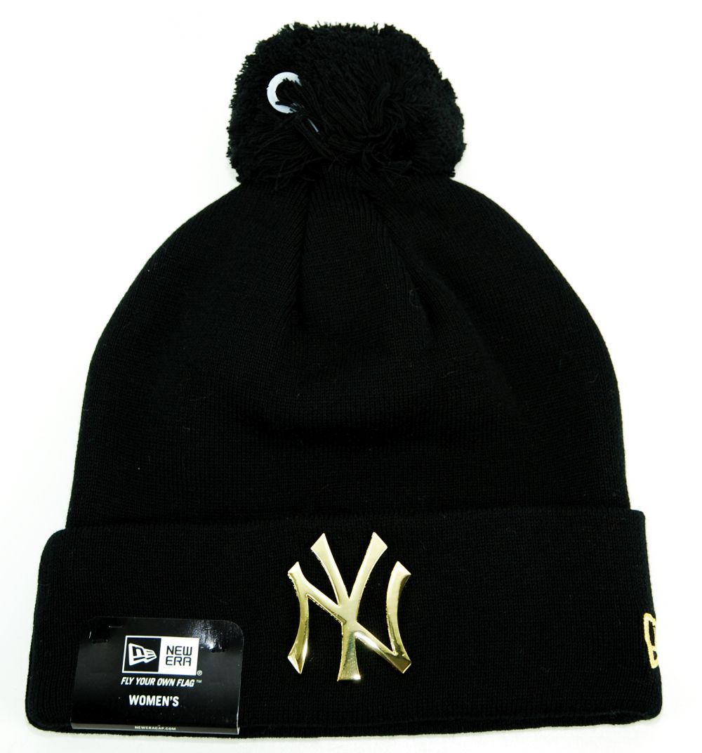 Bonnet Femme New Era NY Yankees Pompon Noir , Or MetalCuff , Prestige Center