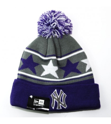 Bonnet New Era NY Yankees Pommy Star Violet - Gris