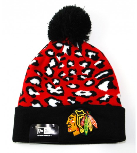 Bonnet Pompon New Era Chicago Blackhawks Noir - Rouge Leopard 2