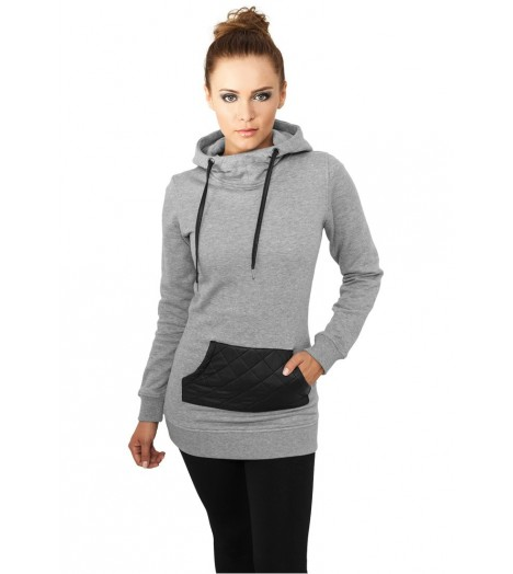 Sweat Long Urban Classics Femme Gris - Noir Poche Aspect Cuir