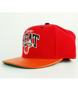 Casquette Mitchell & Ness Miami Heat Rouge - Orange Snapback MVP