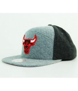 Casquette Mitchell & Ness Chicago Bulls Gris Snapback Quilted H-Panel