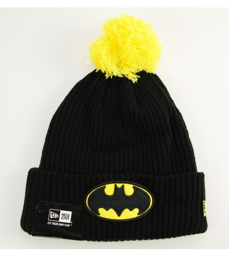 Bonnet Pompon New Era Batman Hero Fill Noir - Jaune