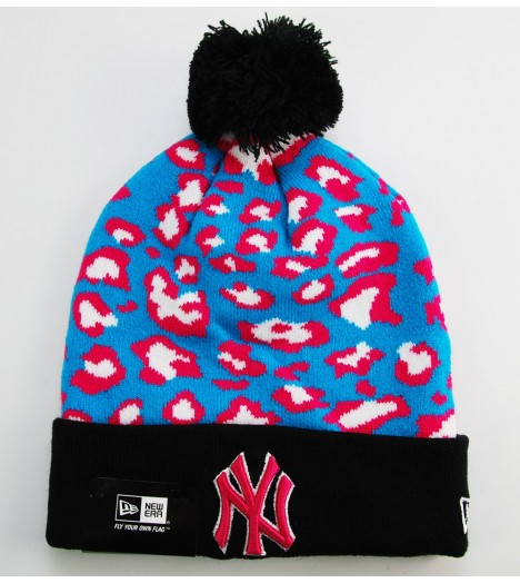 Bonnet Pompon New Era New York Yankees Turquoise - Rose Leopard 2
