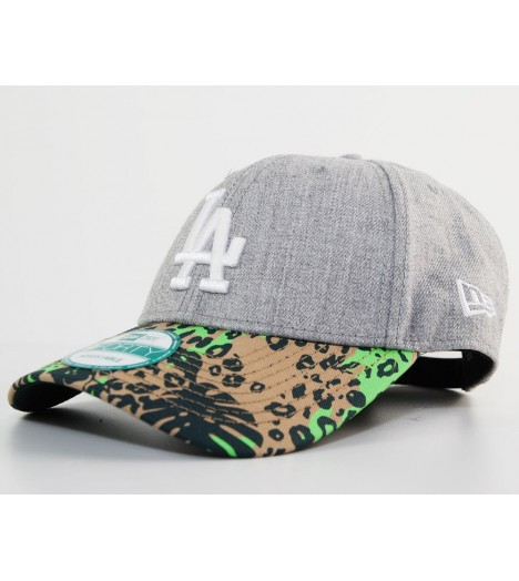 New Era 9Forty LA Dodgers Peak Jungle Gris - Vert