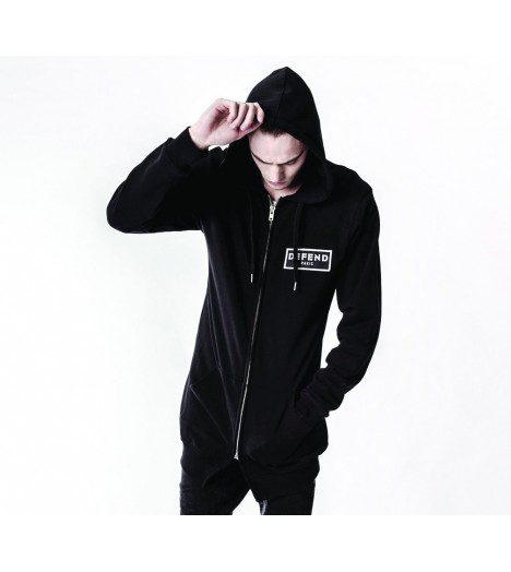 Sweat Oversize Defend Coexist Long Hood Noir