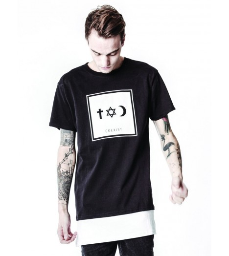 T-shirt Long Defend Coexist Co Tee Minimal Oversize Noir